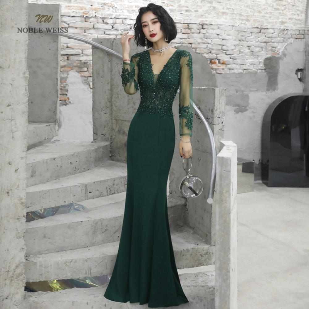 Prom Dresses Sexy V-neck Mermaid Floor-length Satin Appliques Beading Prom Dress Cheap Prom Gown Robe De Soiree Party Dress