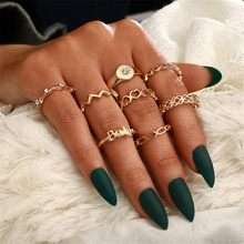 Openwork Knotted Joint Ring Diamond Set Of Love Eight-Piece Ring Set for Women Boho Geometric Vintage Rings Crystal Jewelry #w3(China)
