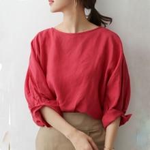 Korean Style 2020 Women Summer Solid O-Neck Red Three Quarter Casual Regular Blouse Minimalist Office Lady Tops Retro