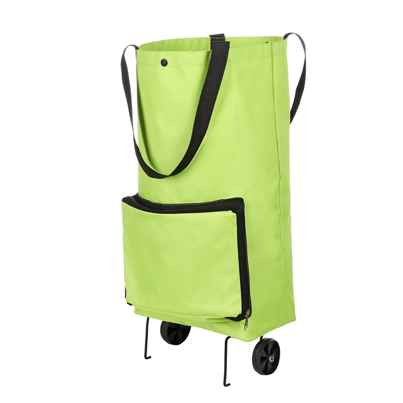 Foldable Multifunction Shopping Trolley Bag With Wheels    Wheels Reusable Reusable  Green Storage Bag  Water Proof