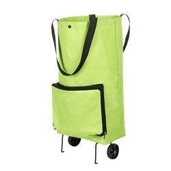 Multifunzionale Pieghevole Shopping Bag Trolley con Ruote Ruote Riutilizzabile Riutilizzabile Verde Sacchetto di Immagazzinaggio a Prova di Acqua