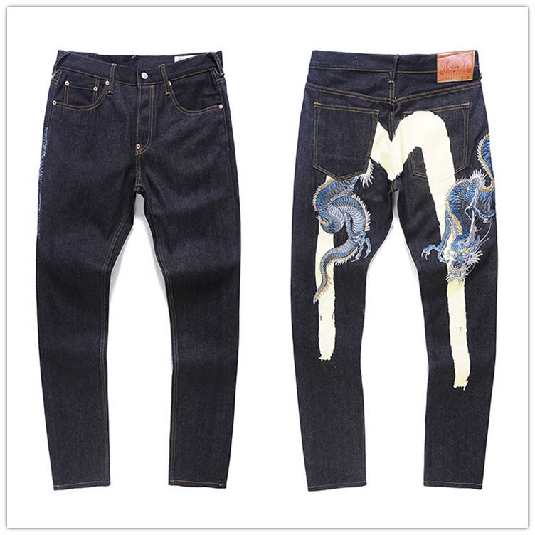 2020 Authentic Evisu Top Quality Fashion Casual Hip Hop Men's Jeans Embroidery Printing Men's Breathable Straight Pants