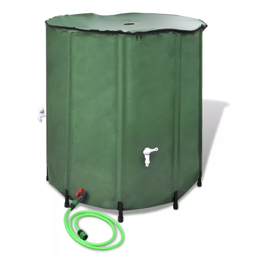 VidaXL Rain Barrel Collapsible Rainwater Harvest Water Tank Garden PVC Foldable Rain Collection Tank Water Container With Runoff