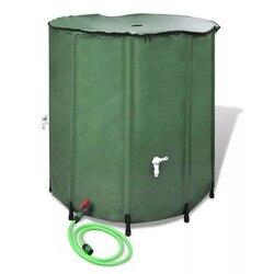 VidaXL barril de lluvia plegable de agua de lluvia tanque de agua de cosecha de jardín de PVC plegable de recogida de lluvia contenedor de agua con escurridor