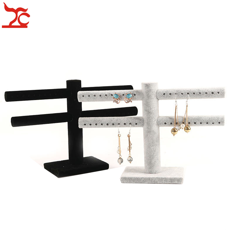 Creative Velvet Earring Display Rack Portable 2 Layers Earring Bracelet Watch Storage Holder Store Home Jewelry Organizer Stand