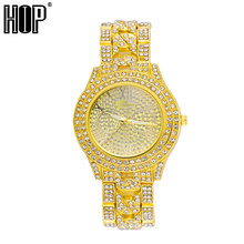 Hip Hop Luxury Mens Iced Out Watches Date Quartz Wrist Watches