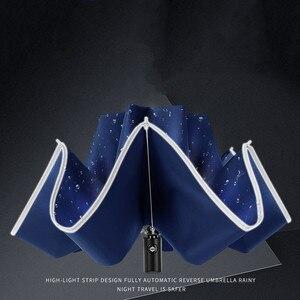 Image 4 - 접이식 자동 우산 역방향 접는 비즈니스 우산 반사 스트립 h0917