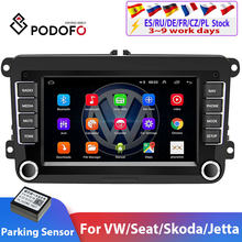 Podofo-Reproductor multimedia para coche Volkswagen, radio estéreo 2DIN con navegación GPS, Bluetooth, sistema Android Car, compatible con vehículo VW/Golf/Passat/SEAT/Skoda/Polo