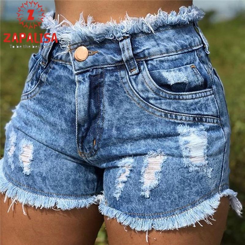 Zapalisa Skinny Washed Holes High Waist Jeans Woman Fashion Streetwear Sexy Shorts Pocket Tassel Decor