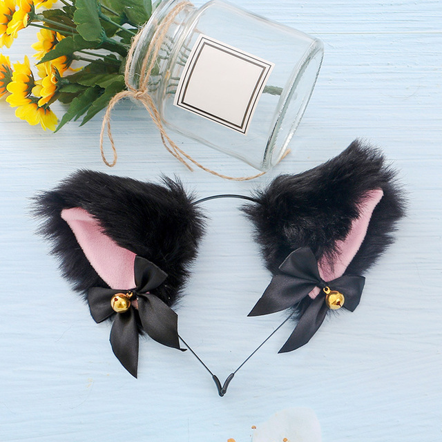 15 Colors Beautiful Masquerade Halloween Cat Ears Cosplay Cat Ear Party Costume Bow Tie Bell Headwear Headband Hair Accessories 5