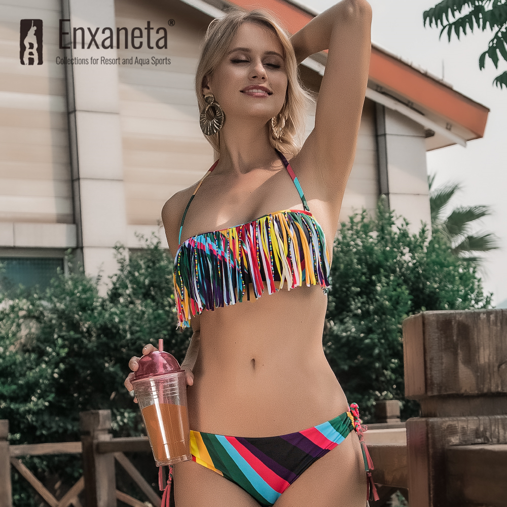 ENXANETA Women 's Swimwear 2020 Sexy Bikini Push Up Iridescent Tassel Print Style Low Waist Brazilian Beachwear Female Swimsuit