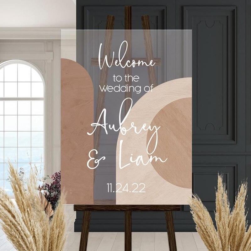 Acrylic Wedding Sign Bundle Clear Acrylic Modern Boho Wedding Welcome Sign Menu and Seating Chart for Wedding Bohemian Style