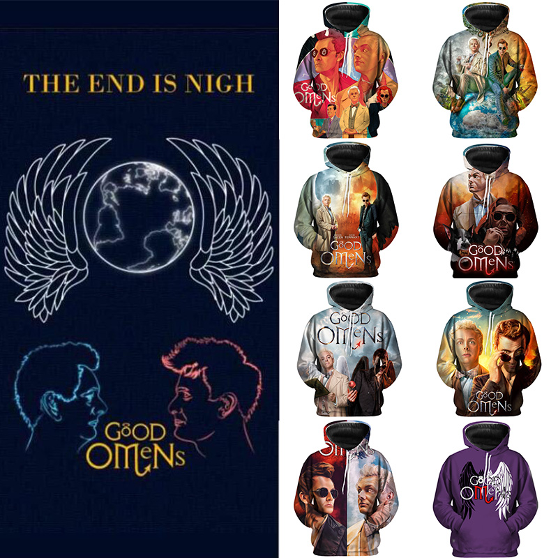 New Arrival Good Omens Men Hoodies Crowley And Azirafale Fashion Casual Pullover Sweatshirts Couple Hipster Harajuku Cool Tops