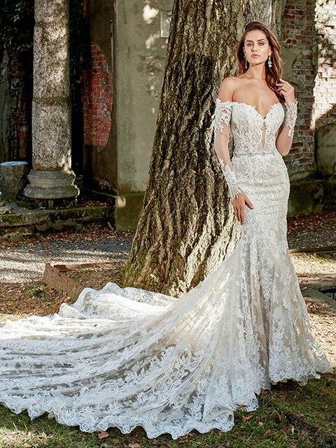 Boat Neck Vestido De Noiva Luxury lace Embroidery Mermaid Bride Wedding Dress 2021 new Bridal Gown Sexy backless Robe de mariee 2