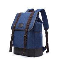 Men Leather Canvas Backpack Large School Bag Travel Rucksack
