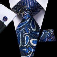 Hi-Tie 100% Silk Paisley Blue Mens Ties Wedding Party Luxury Tie Necktie Handkerchief Cufflinks Set Fashion for Men