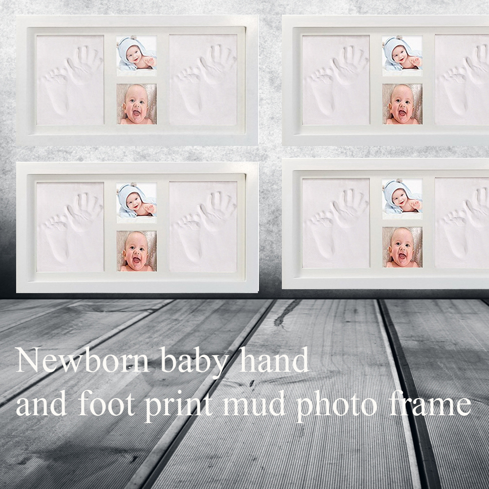 Baby Handprint Kit Wood Frame Clay Memorable Air Drying Photo Cute Inkpad Non Toxic Gift Foot Easy Apply Mud Soft