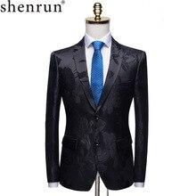 Shenrun Homens Moda Blazer Preto Jacquard Floral Slim Fit Blazers Paletó Do Noivo Partido Prom Traje Do Estágio Cantor Anfitrião