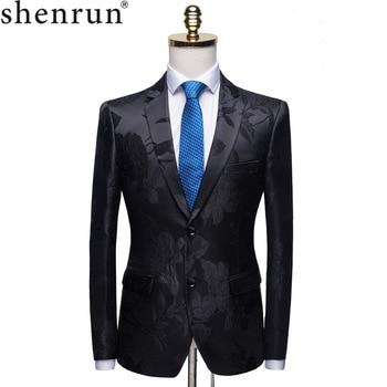 Shenrun Men Fashion Black Blazer Jacquard Floral Pattern Slim Fit Suit Jacket Groom Party Prom Stage Costume Singer Host Blazers
