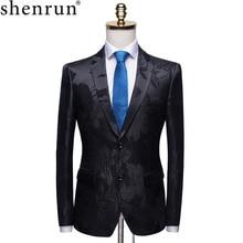 Shenrun Men Fashion Black Blazer Jacquard Floral Pattern Slim Fit Suit Jacket Gr