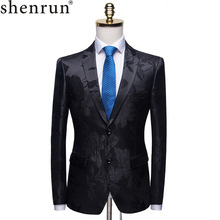 Shenrun גברים אופנה שחור בלייזר אקארד דפוס פרחוני Slim Fit חליפת מעיל חתן המפלגה לנשף שלב תלבושות הזמר מארח טרייל