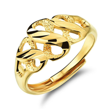 Fashion Golden Bridal Ring Vintage Style Adjustable Jewelry Hollow 8-shaped Open Lady Accessories VR642