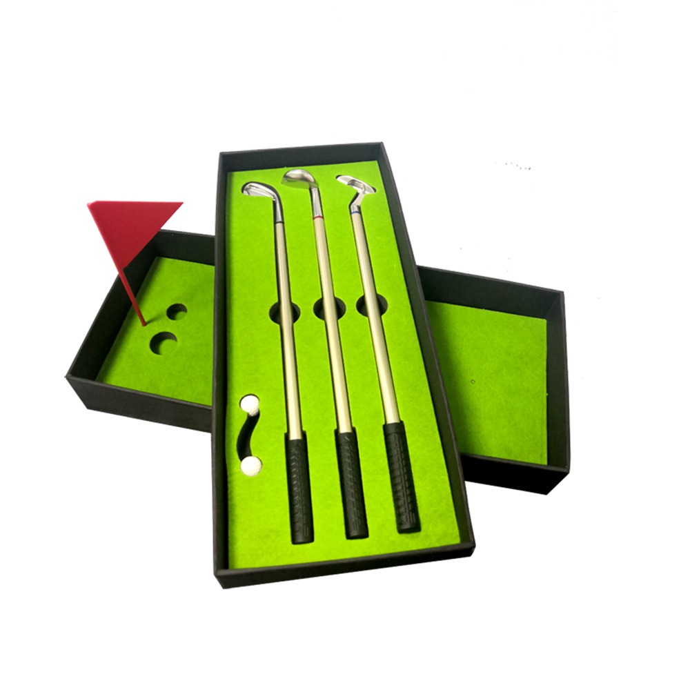 Golf Pen Set,Desktop Goft Mini Green Driving Range With Golf Club Pens Balls And Flag