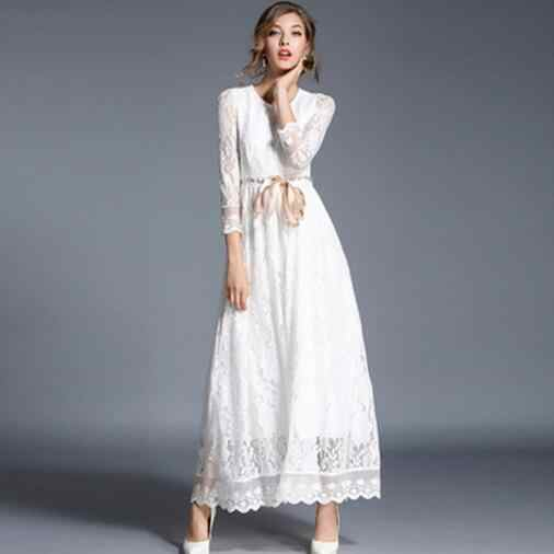 2020 Runway Maxi Dress Women's Elegant Long Sleeve White Lace Party Long Dress with Belt Female Autumn Dress DW978