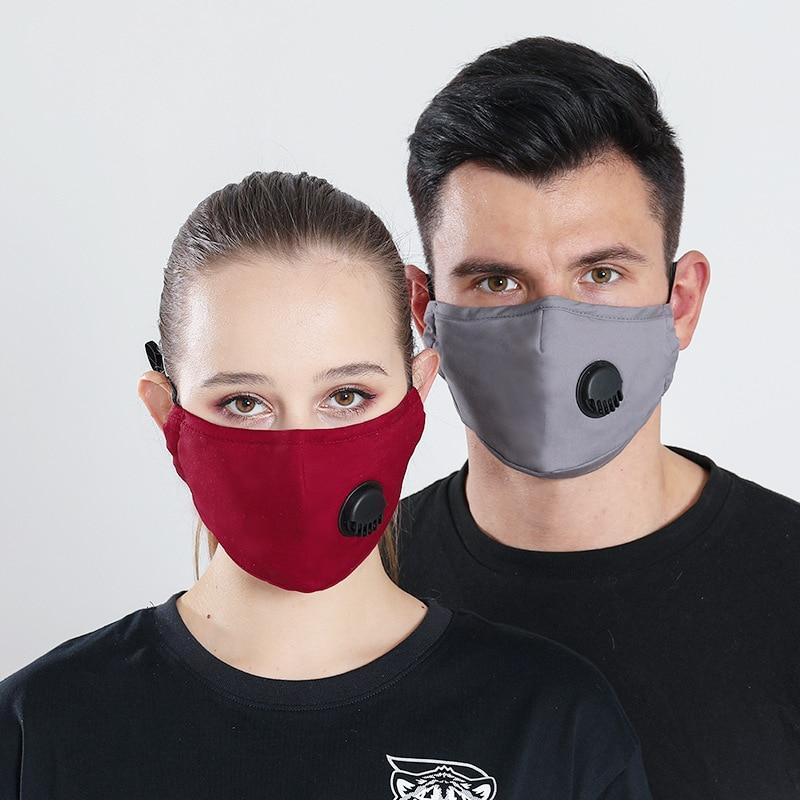 Adult 1 Mask+1 Filter PM2.5 Activated Carbon Masks Protection Cotton Ear Belt Adjustable Breathing Valve Fog Haze Dust Mask