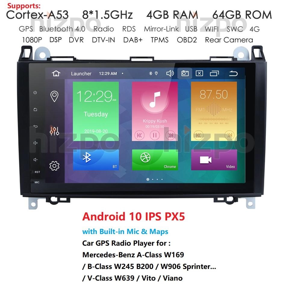 DSP HD Android 9.0 Car DVD Player 4GB RAM For <font><b>Mercedes</b></font> Benz A150 A160 A170 A180 A200 B160 B170 <font><b>B180</b></font> B200 <font><b>GPS</b></font> Bluetooth Radio image