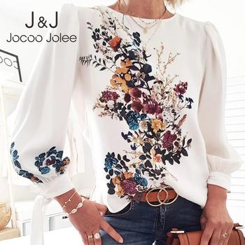 Jocoo Jolee kobiety elegancka koszula z długim rękawem muszka kwiatowy Print O-neck damska bluzka damska szykowna bluzka luźna szyfonowa bluzka Blusa tanie i dobre opinie COTTON Poliester REGULAR WOMEN NONE Pełna Latarnia rękaw Streetwear Drukuj BL177