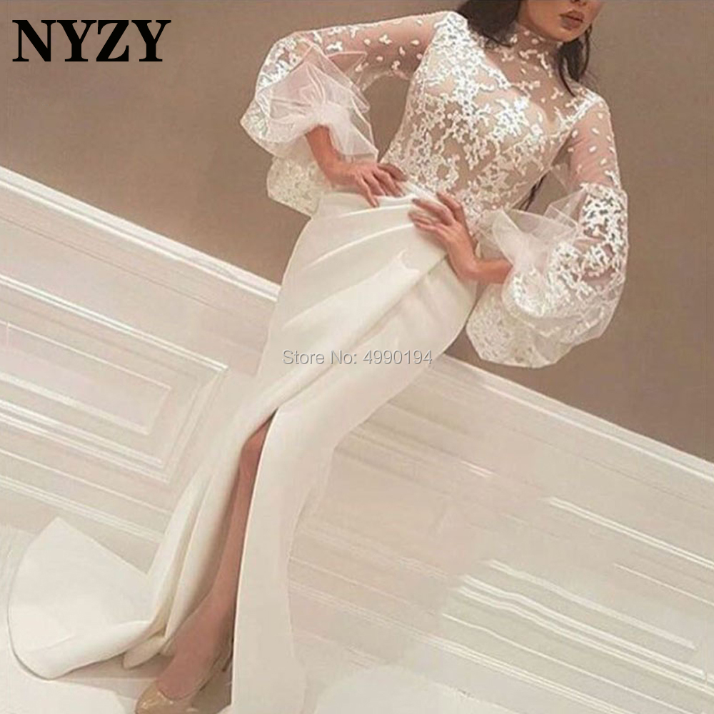 Long Sleeves Lace Mother Of The Bride Groom Dresses NYZY M253 High Neck Arabic Evening Formal Dress 2020