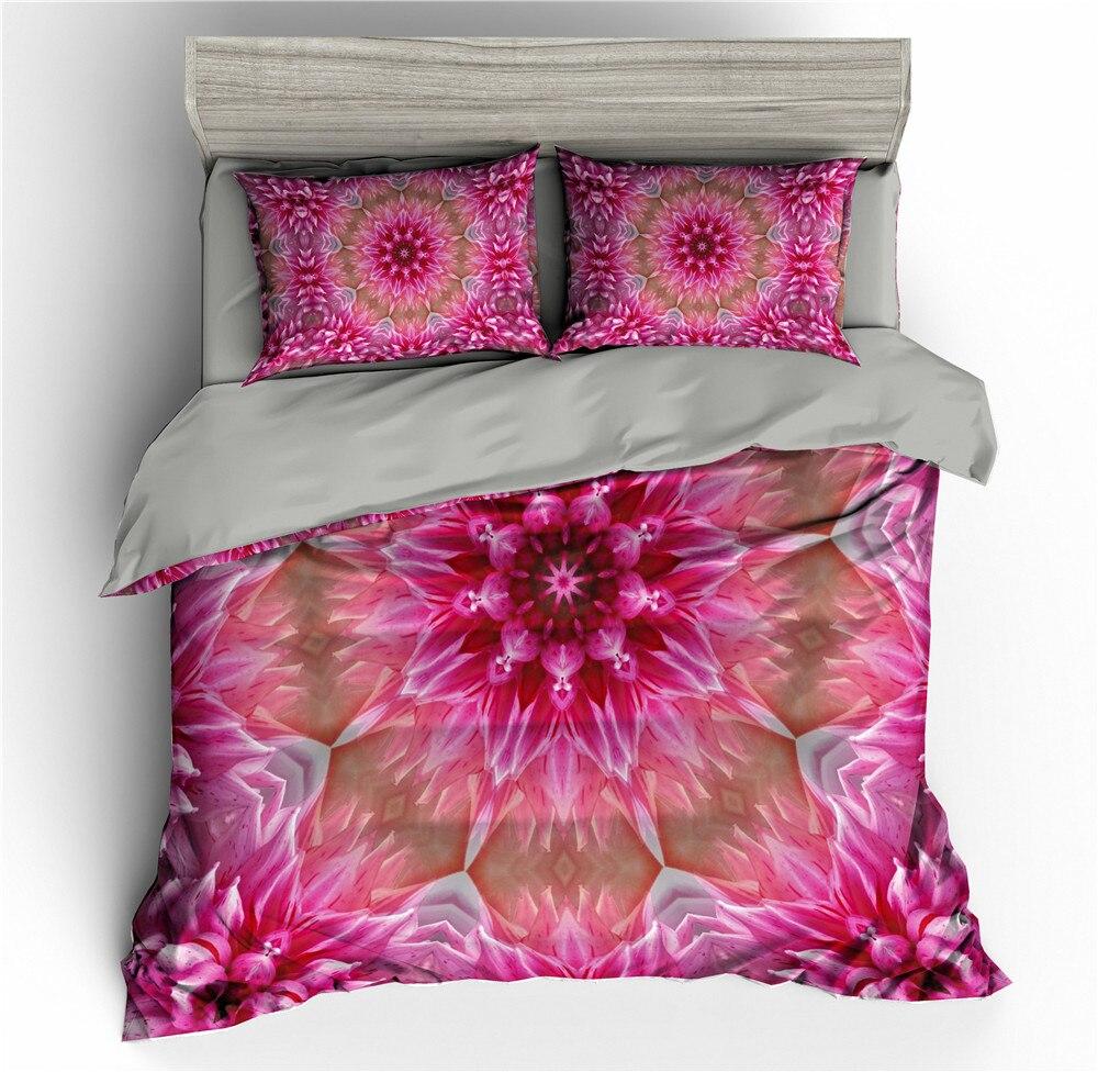 Mandala Flowers 3D Pink Bedding Set Blue Duvet Cover Bedding Queen Comforter Sets King Size Bed Quilt Covers Twin Bedding Sets