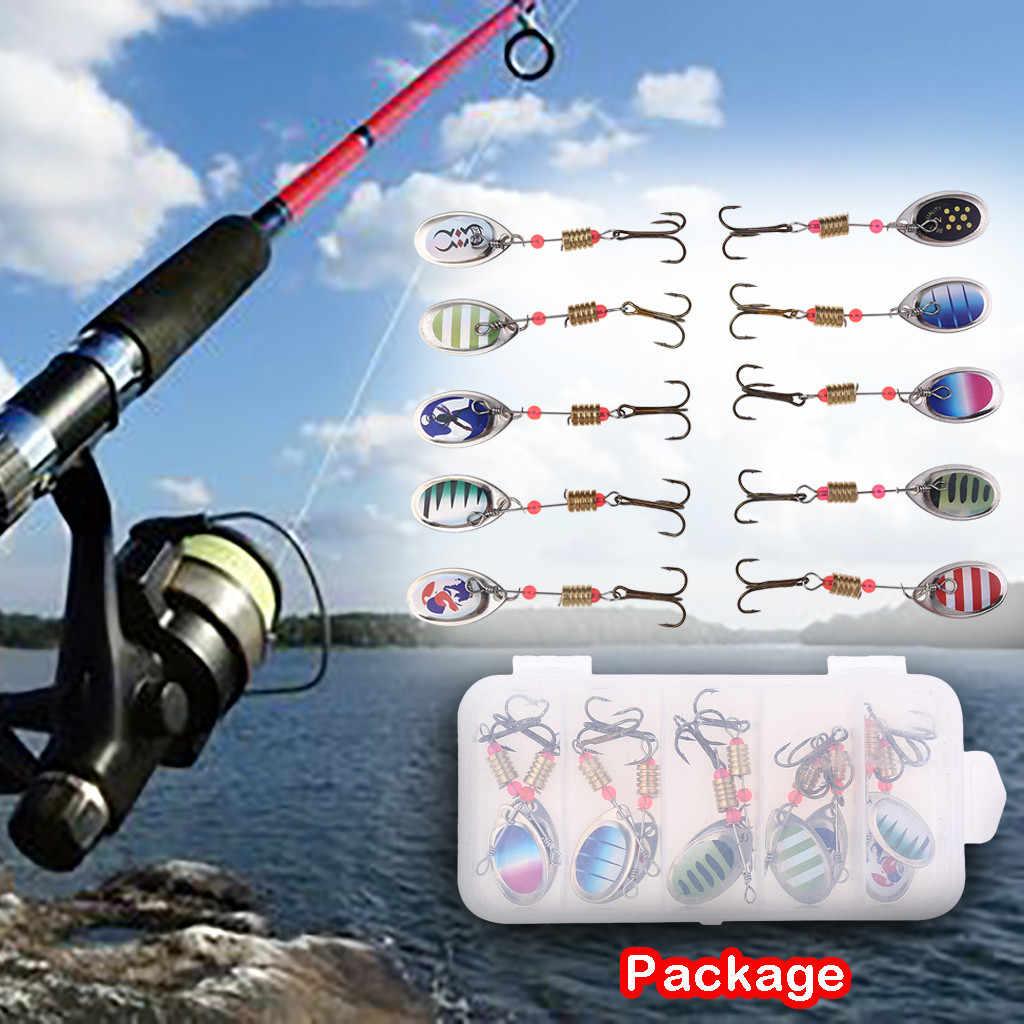 10PCS Fishing Lure เหยื่อประดิษฐ์โลหะ Bionic ตกปลา Sequins Spinner