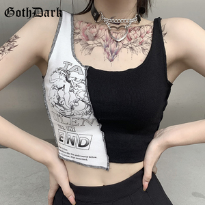 Goth Dark Punk Style Patchwork Tank Tops Aesthetic Letter And Graphic Print Women Crop Top Color Blocking Sleeveless Streetwear