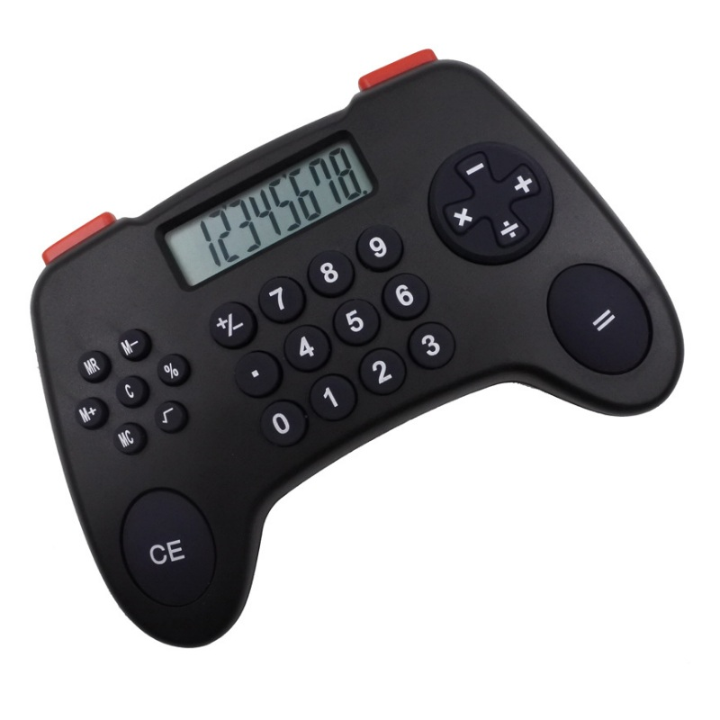 New Arrival 8 Digit Desk Game Handle Calculator Financial Business Accounting Tool Black Big Buttons Coin Battery For School