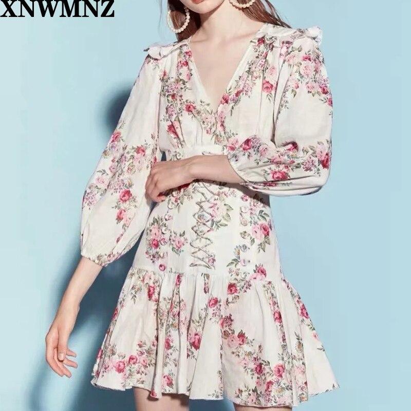 Za vestido feminino do vintage vestidos com decote em v verão manga longa floral férias vestido curto renda elegante vestido sexy bodycon vestido