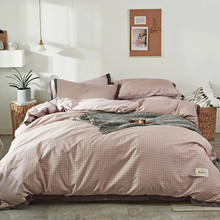 Yimeis Korean Bedding Set Plaid Bed Linen Cotton Solid Color Comforter Bedding Sets Size Single BE45331(China)