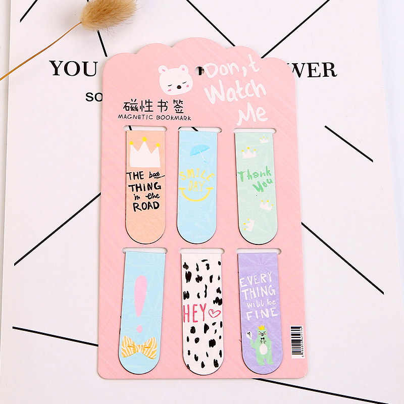 6Pcs Kawaii Metal Bookmarks Cute Cat Cactus Bookmarks Novelty Magnetic Book Marks For Kids Girls Gifts School Office Stationery