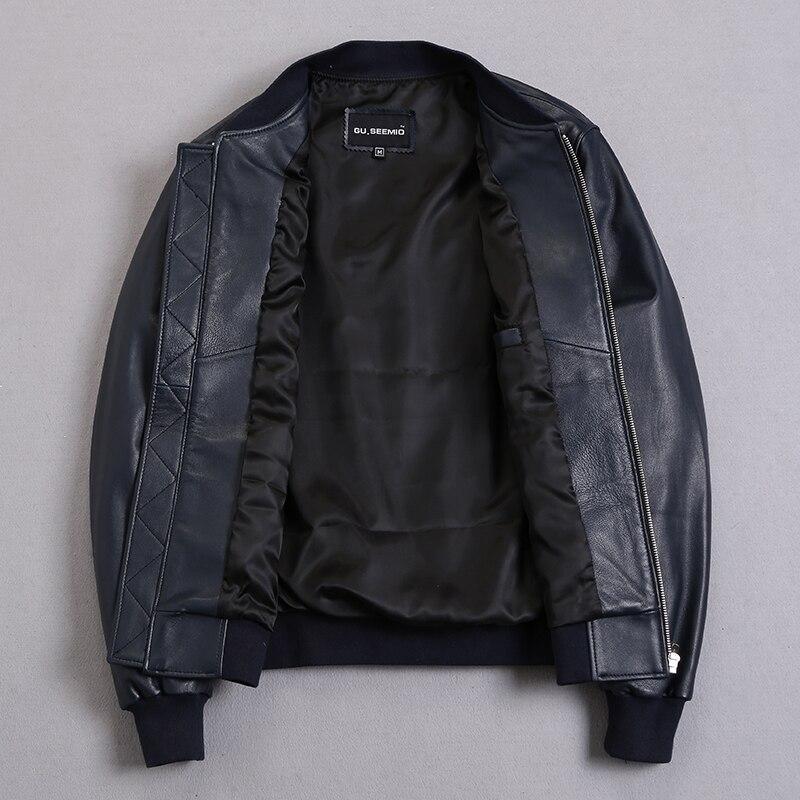 Men's Sheepskin Coat Bomber Genuine Jacket Men Plus Size Short Leather Jackets Veste Cuir Homme KJ2273