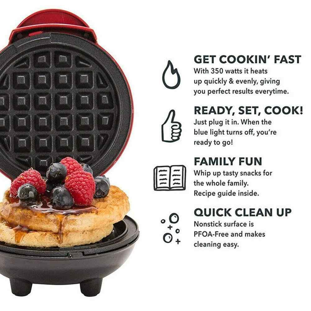 Mini máquina de waffle clássico antiaderente panini café da manhã que faz a máquina individual redonda portátil utensílios cozinha