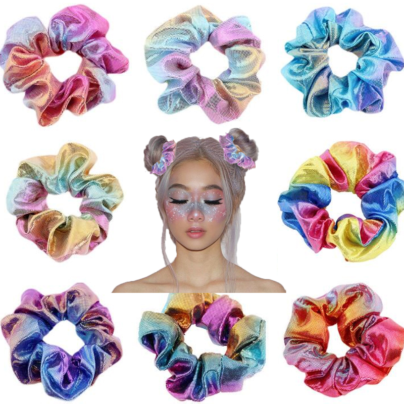 1 PC Glitter Bronzing Rainbow Scrunchie Elastic Hair Bands Hair Ties Hair Rope Colorful Hair Accessories For Girls Women