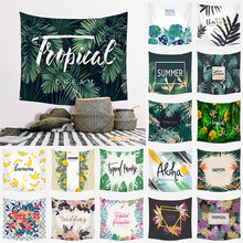 Tropical Plant Tapestry Wall Hanging Polyester Thin Bohemia Cactus Banana Leaf Print Tapestry Beach Towel Cushion janeyu new cosmos star velvet multifunctional polyester tapestry hanging beach towel