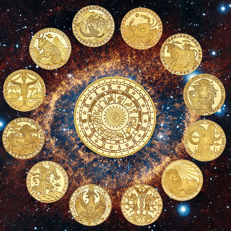 Wr Twaalf Sterrenbeelden Zodiac Vergulde Collectible Munt Originele Munten Set Houder Uitdaging Coin Creative Gift Dropshipping
