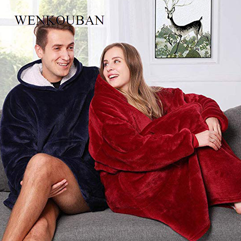 Winter Women Hoodie Warm Pocket Blankets Outdoor Hoodie Coats Slant Robe Plush Bathrobe Oversized Sweatshirt Casaco Feminino