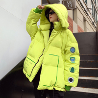 Hip Hop Oversized down cotton Winter Women's Coat Warm Fluorescent green/black Women Plus Size Jacket hooded Women's Parka MY226