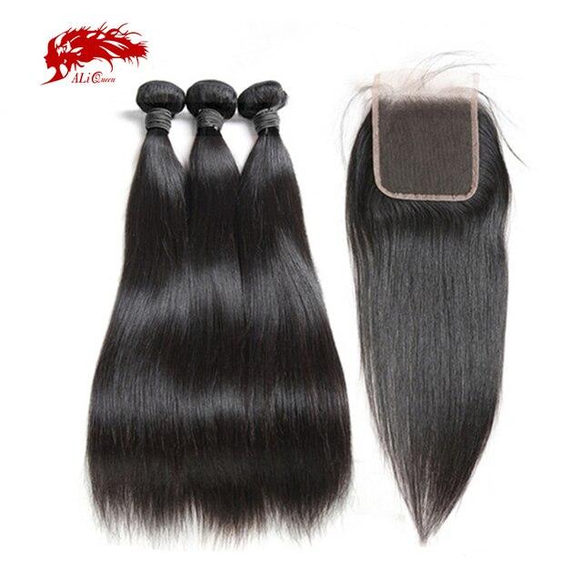 עלי מלכת שיער 3/4pcs פרואני ישר רמי שיער טבעי חבילות עם סגירת 4x 4/13x4 שוויצרי תחרת סגירת חלק חינם משלוח חינם