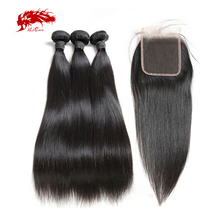 Ali Queen Hair 3/4pcs Peruvian Straight Remy Human Hair Bundles With Closure 4x4/13x4 Swiss Lace Closure Free Part Free Shipping