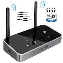 EKSA 3 in 1 Bluetooth 5.0 오디오 수신기 송신기 TV 스피커 용 AptX LL/HD 차량용 PC 무선 어댑터 SPDIF RCA 3.5mm AUX NFC