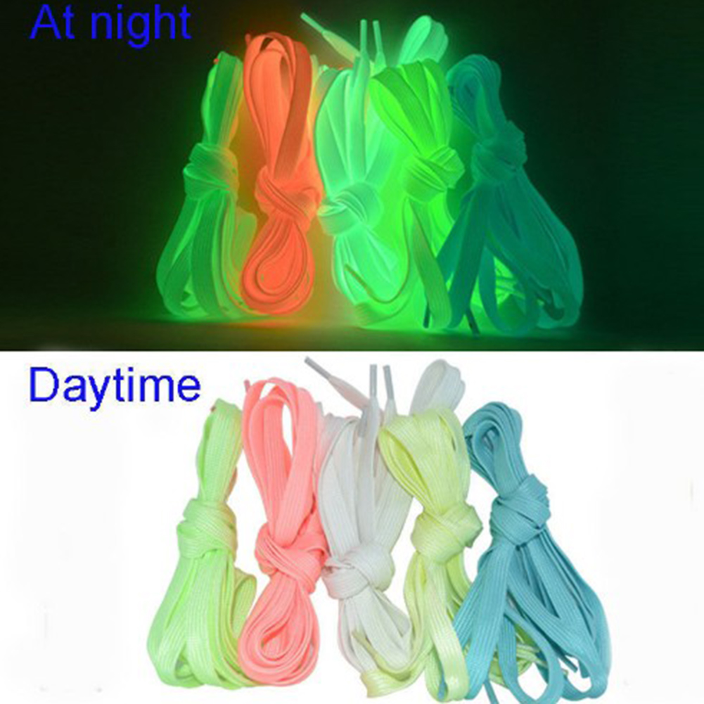 1 Pair Flat Reflective Runner Shoe Laces Safety Luminous Glowing Shoelaces Unisex For Sport Basketball Fluorescent Shoestring